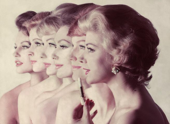 Six Models with Revlon Lipstick