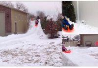 Tēvs ar 15 bērniem pagalmā uzbūvē iespaidīgu kamaniņu trasi – Tas ir jāredz!