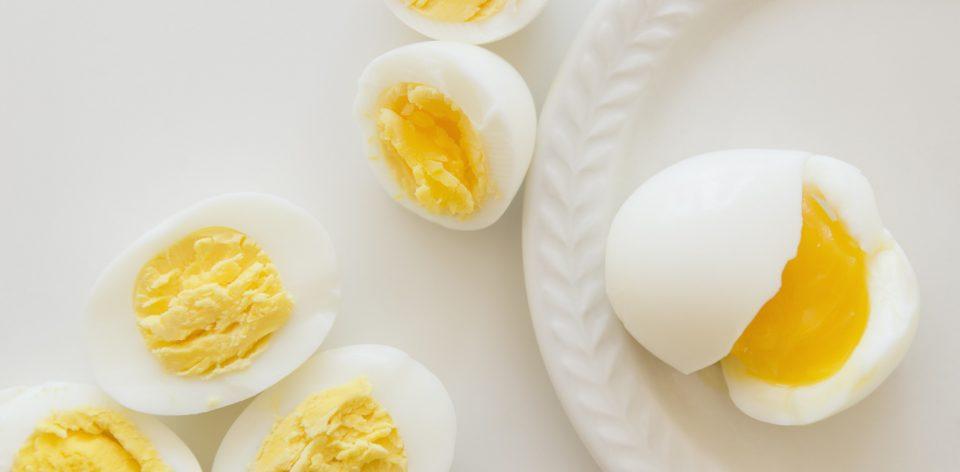 Studio shot of hard-boiled eggs
